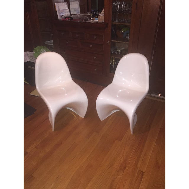 Image of Design Within Reach White Panton Chairs- Set of 2