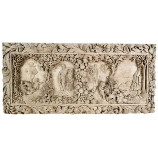 French Hand-Carved Walnut Wall Plaque