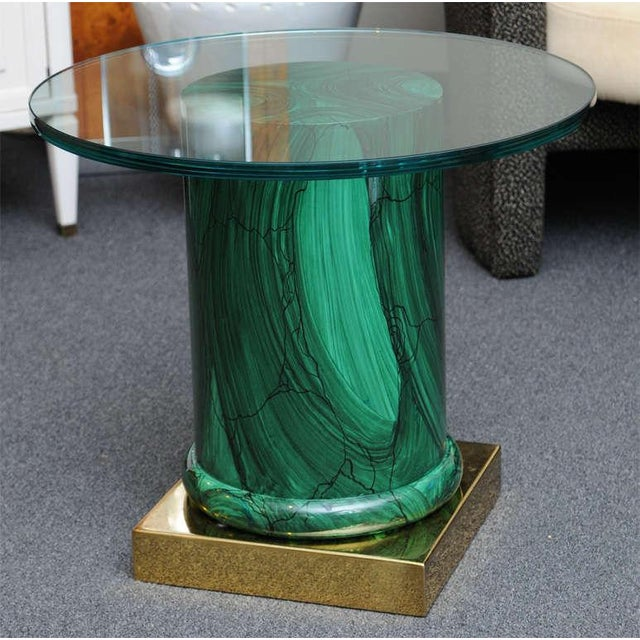 Image of Sleek Modern Classic Malachite Column Side Table