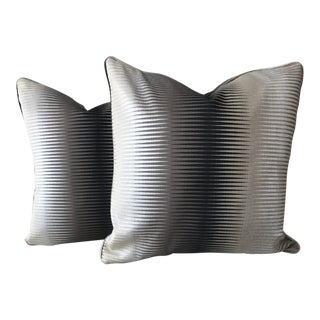 Grey, Black, and Silver Print Pillows - A Pair