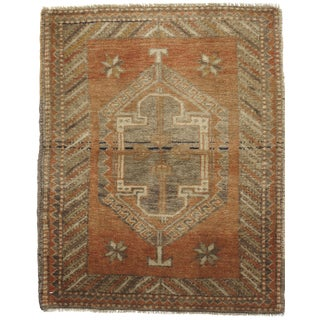 Square Vintage Turkish Yastik Hand Knotted Rug 2'3 x 2'9