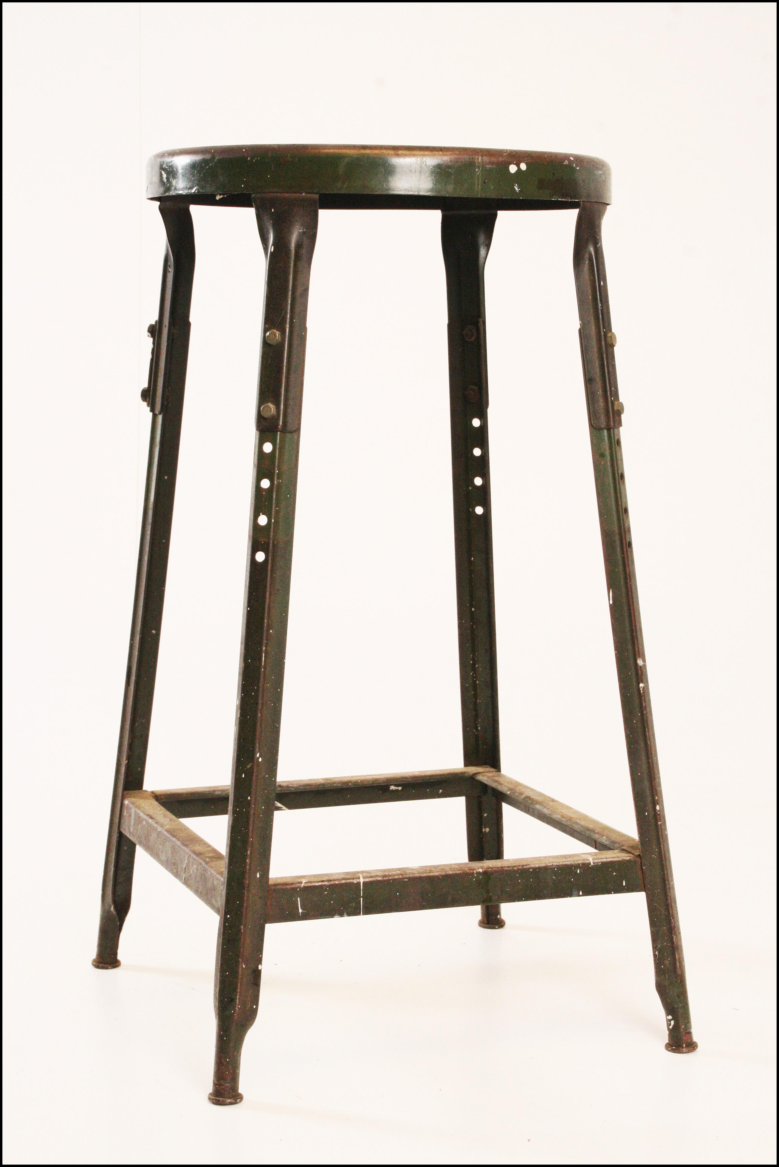 Vintage Industrial Green Metal Stool Chairish