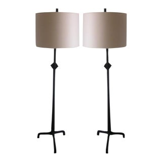 Pair of Iron Floor Lamps in the Etruscan Style