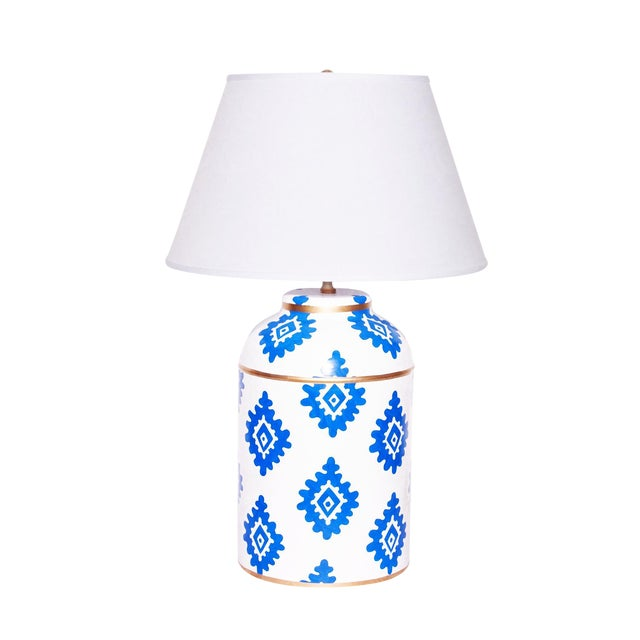Dana Gibson Navy Block Lamp - Image 1 of 2