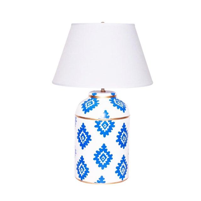 Dana Gibson Navy Block Lamp Chairish