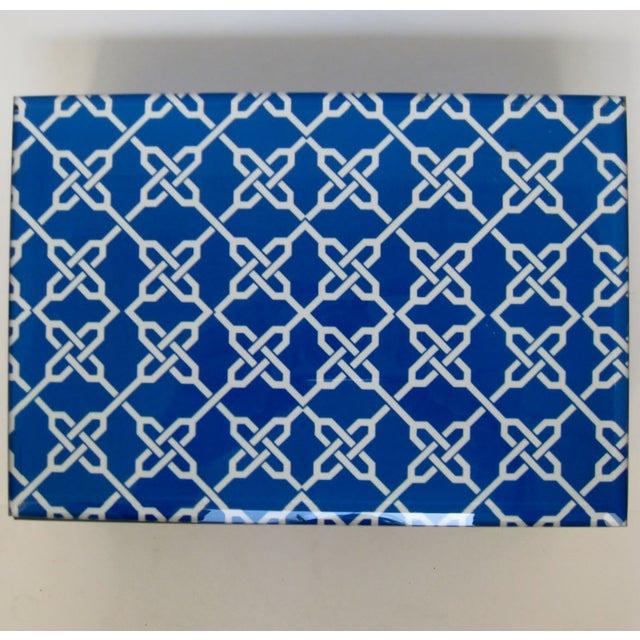 Blue & White Fabric & Glass Box - Image 4 of 5