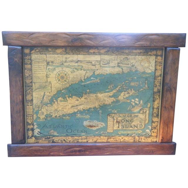 Image of Vintage 1960s Framed Long Island, Ny Map