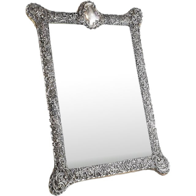 Circa 1903 Fine English Victorian Sterling Silver Leather & Wood Mounted Table Mirror - Image 7 of 7