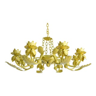 Canary Yellow Wrought Iron Chandelier