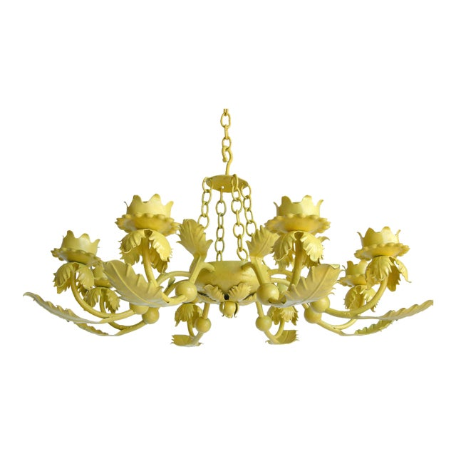 Canary Yellow Wrought Iron Chandelier - Image 1 of 6