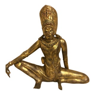 Hindu Gilded Carved Wood Statue