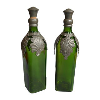 Walker's Whiskey Bottles With Pewter Mounts - Pair