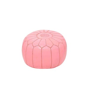 Moroccan Pink Embroidered & Stuffed Leather Pouf [Stuffed]