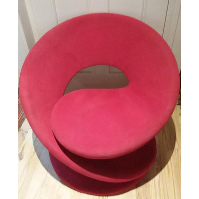 Rare & Unique Louis Durot Vintage Mid-Century Modern Spiral Lounge Red Chair - Image 2 of 10