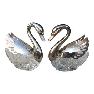 Vintage Italian Silver & Crystal Swan Open Salts - A Pair