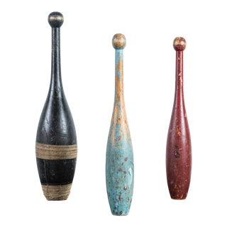 Trio of Early 20th Century Indian Clubs with Original Paint Surface