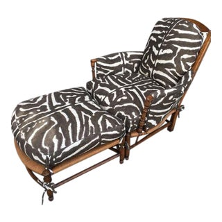 Ralph Lauren Zebra Upholstered Chair and Ottoman