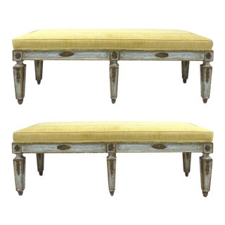 Italian Neoclassical Style Painted and Parcel-Gilt Benches, Pair