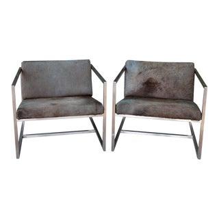 Gus Modern Horse Hide & Chrome Chairs - A Pair