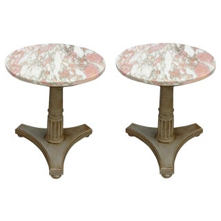 Vintage Pedestal Side Tables - A Pair