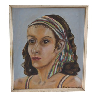 Vintage Portrait of Woman Oil Painting