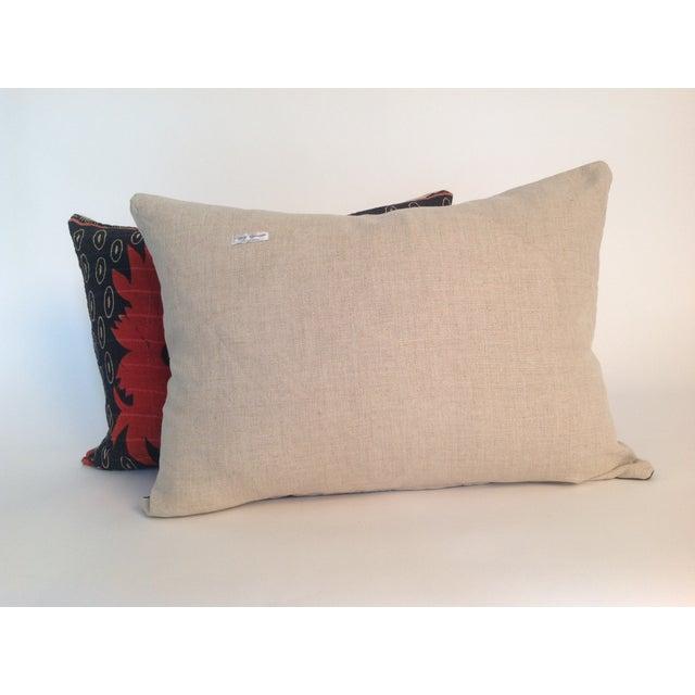 Vintage Block Printed Kantha Quilt Pillows - Pair - Image 3 of 4