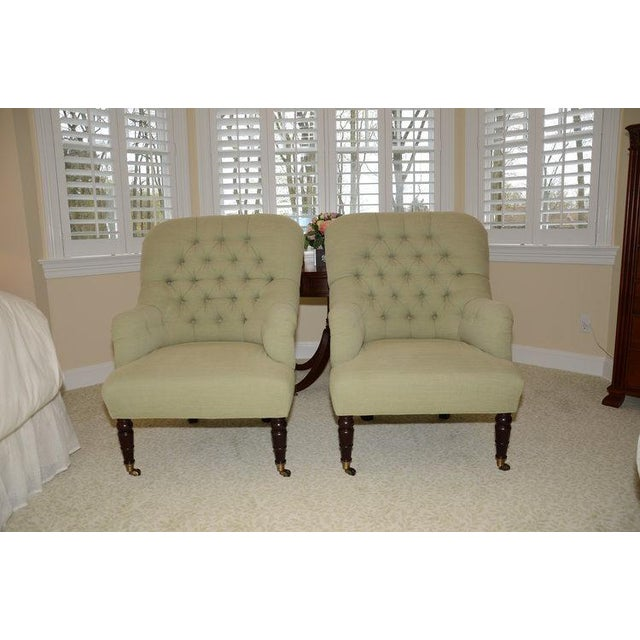 Upholstered Fern Green Tufted Chairs - A Pair - Image 2 of 7