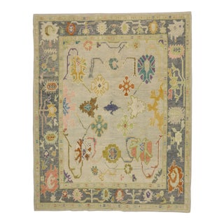 Contemporary Turkish Pastel Oushak Rug - 8′5″ × 10′6″