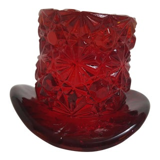 Degenhart Ruby Red Glass Top Hat Tooth Pick Holder