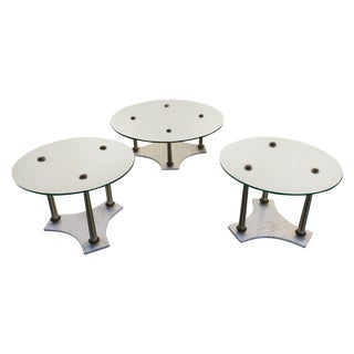 Hollywood Regency Marble Glass Tables - Set of 3