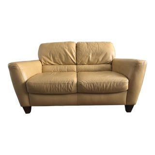 Yellow Almafi Leather Loveseat