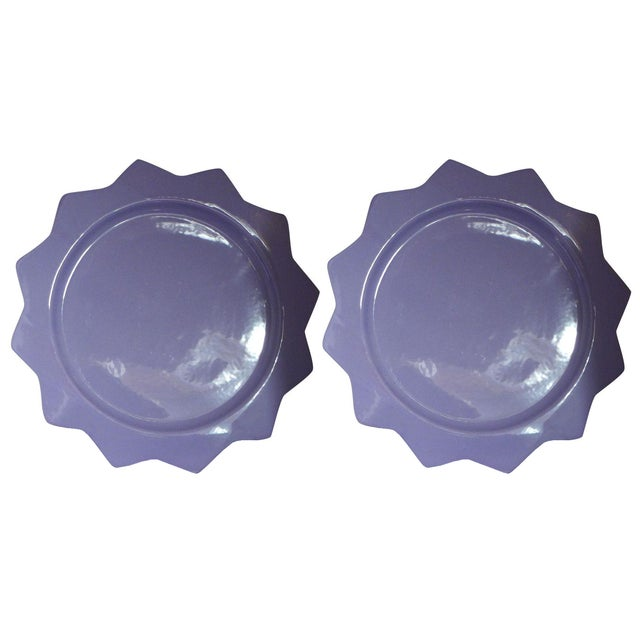 Purple Ceramic Serving Platters - A Pair - Image 1 of 6