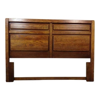 Mission Style Carved Oak Full Sized Headboard