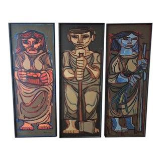 Jorge Dumas Cubist Figure Oil Paintings - Set of 3