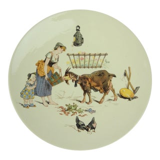 Antique French Faience Milk Maid & Goat Plate