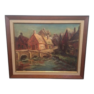 Vintage Landscape Town Framed Oil Painting Signed