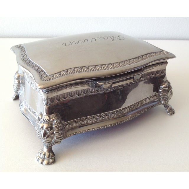 Silver Plated Lion-Footed Engraved Keepsake Box - Image 5 of 11