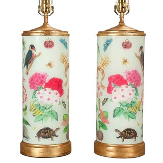 Decalcomania Gilt-Wood Mounted Glass Lamps - A Pair