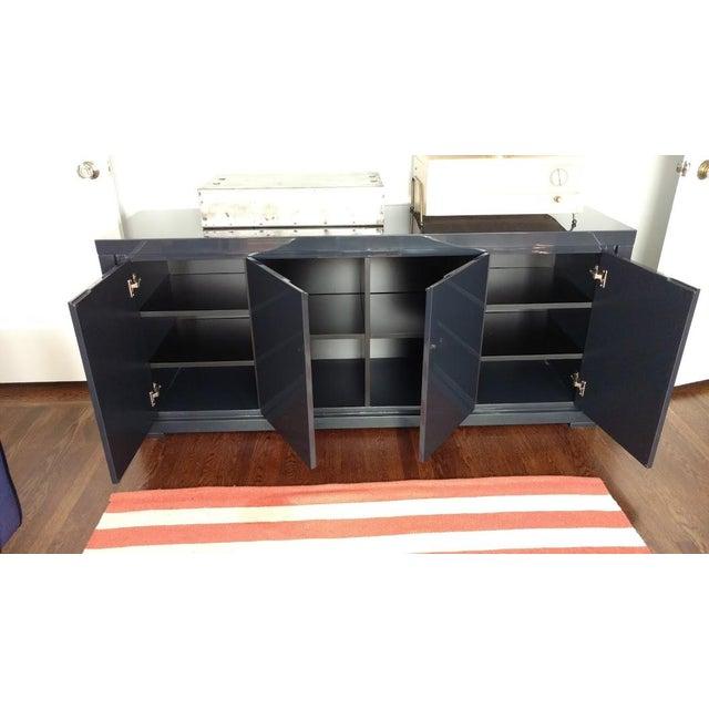 Large Indigo Lacquered Cabinet Credenza - Image 6 of 10