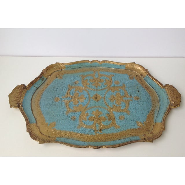 Image of Florentine Gilt With Peacock Blue Server Tray