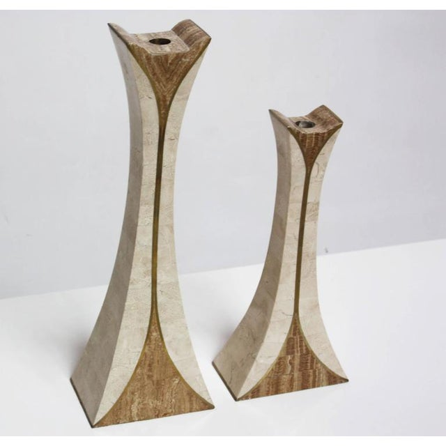 Image of Pair of Maitland Smith Tessellated Stone Candlesticks
