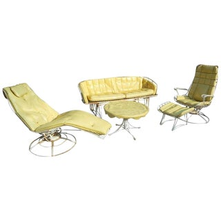 Mid-Century Modern Five-Piece Wrought Iron Homecrest Patio Set by Harry Bertoia