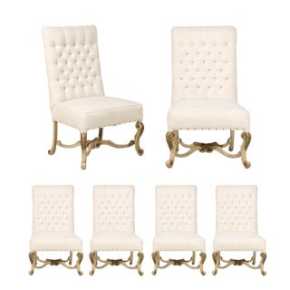 Set of Six American Side Chairs with Beautifully Carved Legs and Stretcher