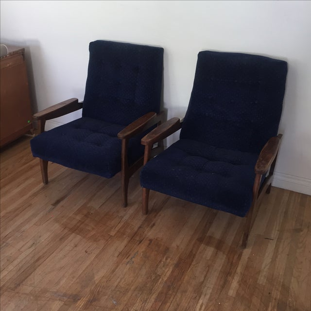 Vintage Navy Blue Tufted Lounge Chairs - A Pair - Image 6 of 6