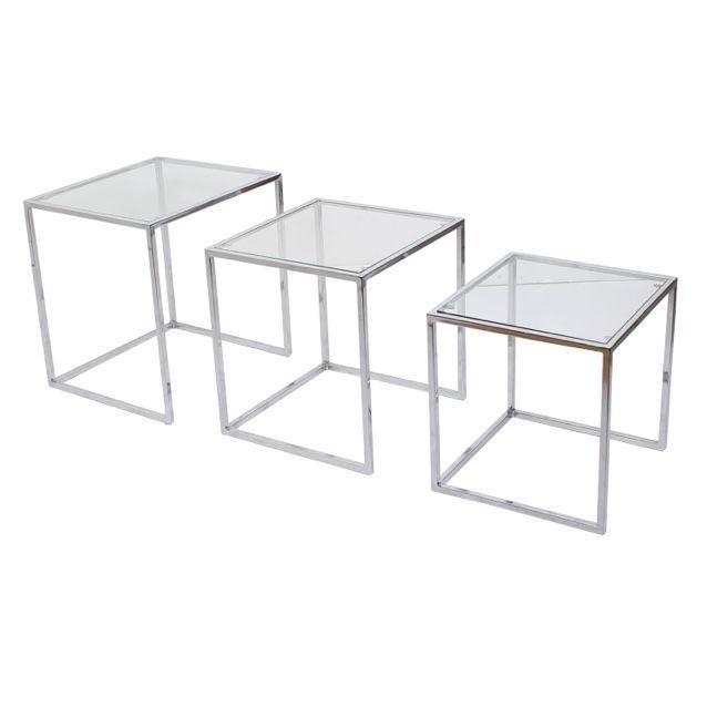 Milo Baughman Chrome Nesting Tables - Set of 3 - Image 3 of 4