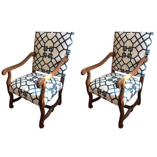 French Style Walnut Armchairs - A Pair