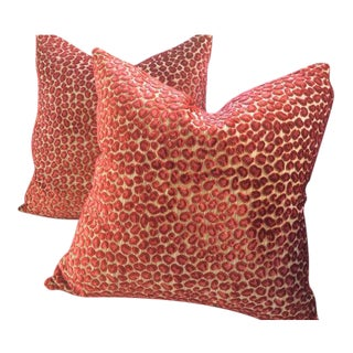 "Colefax & Fowler Pillows in ""Wilde"" Red & Pink Raised Velvet - a Pair"