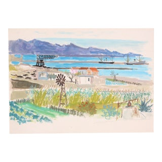 C.1950 Edith Alder French Coastal Farm Watercolor Painting