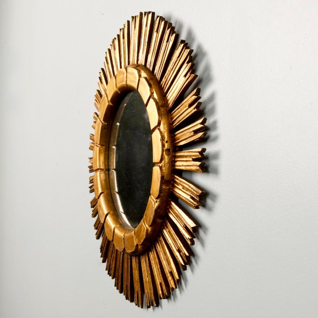 Mid-Century Medium Size Giltwood Sunburst Mirror - Image 5 of 7