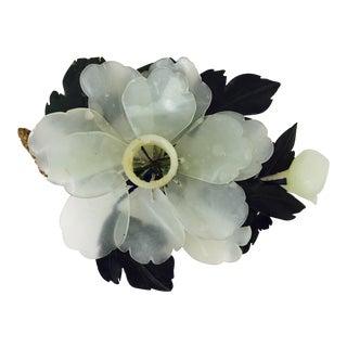 Antique Jade Flower Candle Holder